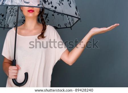 молодые · модный · женщину · зонтик · Постоянный - Сток-фото © HASLOO
