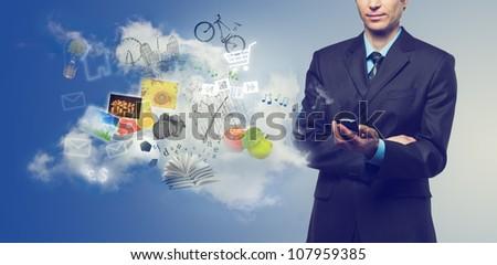 бизнесмен мобильного телефона облачный службе Сток-фото © vlad_star