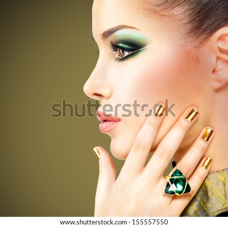 Profile of Stylish Woman with Green Gems. Luxury. Aristocratic Profile Stock photo © gromovataya