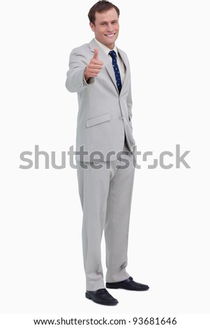 mosolyog · kereskedő · jóváhagyás · fehér · férfi · üzletember - stock fotó © wavebreak_media