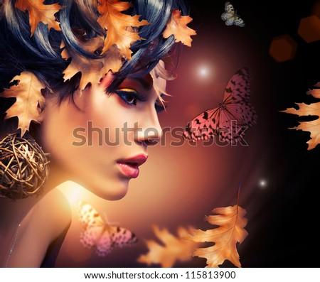Gezicht kunst portret mode make-up vlinder Stockfoto © Victoria_Andreas