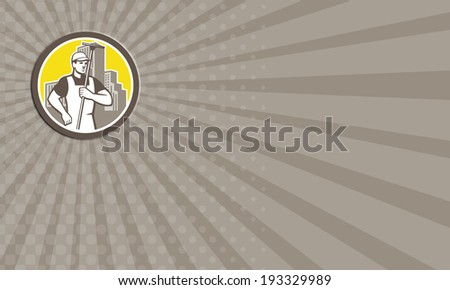 business card window cleaner worker holding squeegee circle stock photo © patrimonio