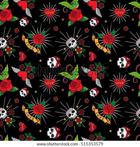 cartoon skulls with hearts on white background seamless pattern stock photo © voysla