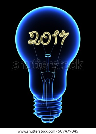X Ray Lightbulb With Sparkling 2015 Digits Inside Isolated On Black Photo stock © oneo