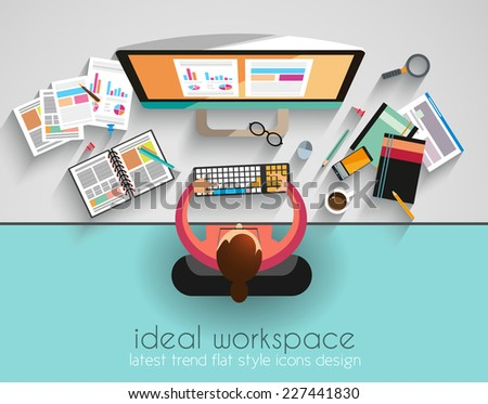 Ideal Workspace for teamwork and brainsotrming with Flat style. Stock photo © DavidArts