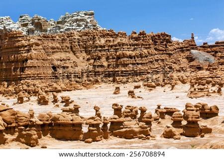blue mountain mushroon shaped hoodoos goblin valley state park r stock photo © billperry