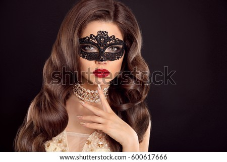Red lips. Mask. Beautiful girl model with fashion jewelry, manic Stock photo © Victoria_Andreas