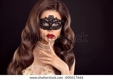 Stock photo: Red lips. Mask. Beautiful girl model with fashion jewelry, manic