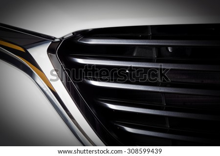 Modern luxury car close-up of grille. Expensive, sports auto detailing Stock photo © photocreo