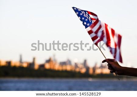 американский флаг ветер типичный американский флагшток Сток-фото © CaptureLight