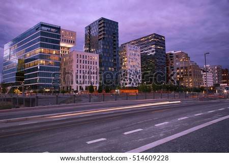 moving car with blur light through Dronning Eufemias gate street Stock photo © vladacanon