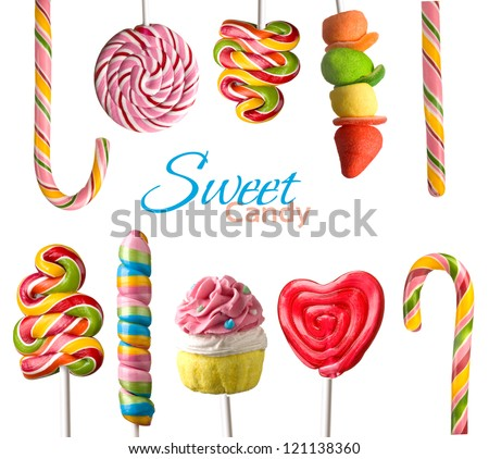 Lollipop blue on stick isolated. Candy on white background. Swee Stock photo © MaryValery