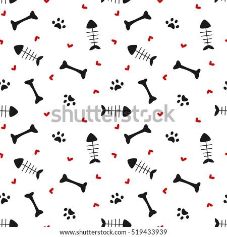 Fekete macska végtelen minta díszállat dísz állat textúra Stock fotó © popaukropa