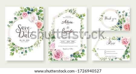 Wedding anniversary celebration party invitation design template. Luxury frame elements and backgrou Stock photo © reftel