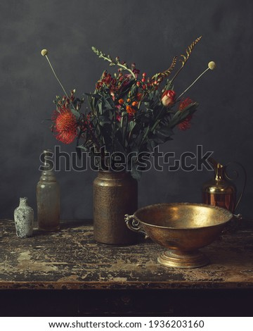 romantic idyllic plant table in the green house with old retro terracotta flower pots stock photo © klinker