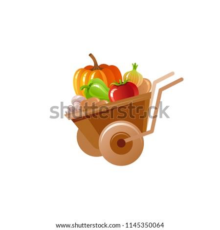 Kruiwagen pompoen groenten tuin halloween oogst Stockfoto © popaukropa