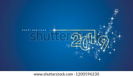 Golden 2018 number symbol new year. Holiday decoration background golden ribbon, ball, shining stars Stock photo © orensila