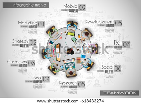 Infograph background template with a temworking brainstorming ta Stock photo © DavidArts