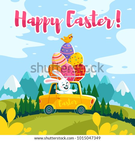 Happy Easter greeting card, a funny rabbit driving an egg shell Stock photo © tilo