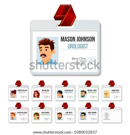 medical identification badge set vector woman man name tag template health doctor face id med stock photo © pikepicture