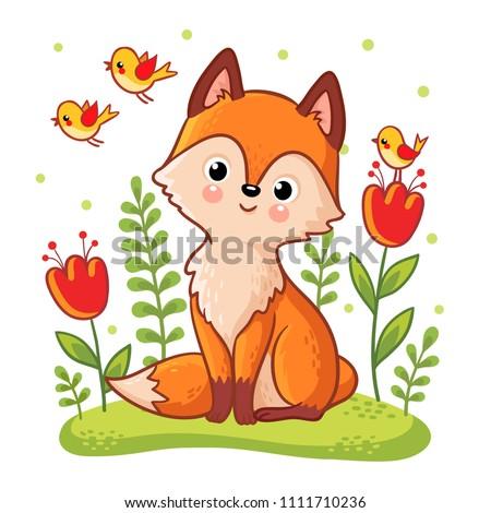 Isolato rosso cartoon Fox bianco Foto d'archivio © olkita