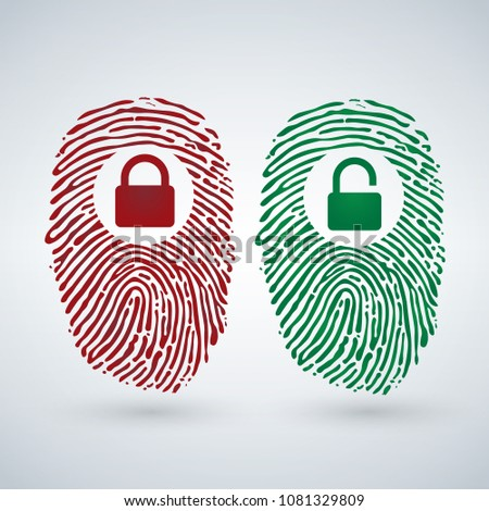 Fingerprint with lock unlock in red and green colors. Cyber security and Hacking Concept. Vector ill Stock photo © kyryloff