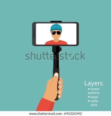 Social media template, smart phone hands hold make and take photo or picture of beach, vector illust Stock photo © ikopylov