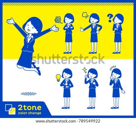 2tone type suit business women_set 1 Stock photo © toyotoyo
