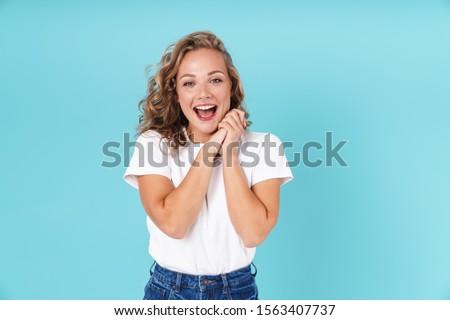 Genç kız mavi elbise Stok fotoğraf © Traimak
