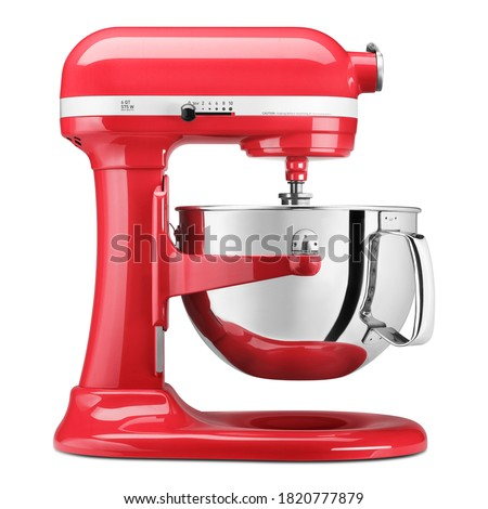 red food processor or stand mixer kitchen electrical equipment for cooking isolated on white backgr stock photo © lady-luck