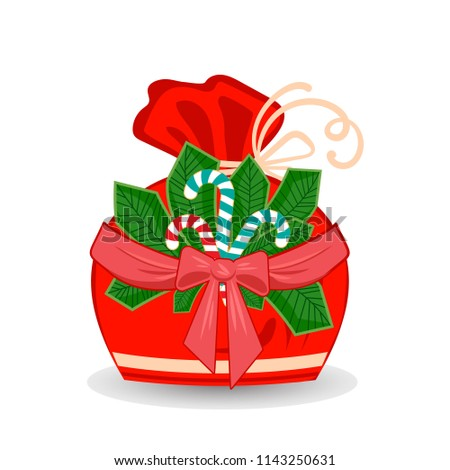 Winter sack with stripe branch with bow and ribbon, sweet candy and snowflakes isolated on white bac Stock photo © heliburcka