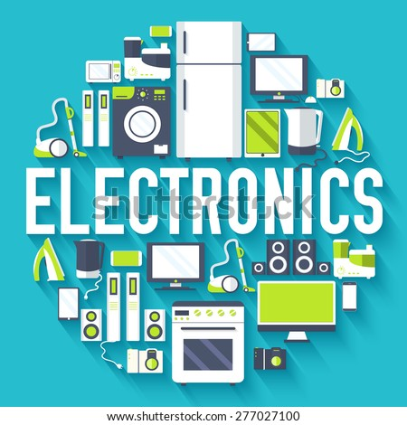 Home electronics appliances circle infographics template concept. Icons design for your product or d Stock photo © Linetale