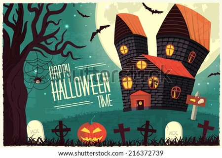 Retro halloween time background concept in style. Vector illustration design Stock photo © Linetale