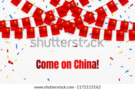 China garland flag with confetti on transparent background, Hang bunting for celebration template ba stock photo © olehsvetiukha