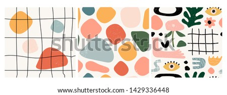 Vector seamless pattern. Abstract hand drawn flowers with different textures. Floral composition. Fr Stock photo © user_10144511