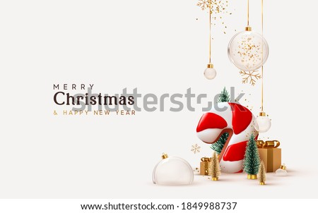 Merry Christmas Illustration with Gold Glass Ball, Lights Garland and Typography Elements on Vintage Stock photo © articular
