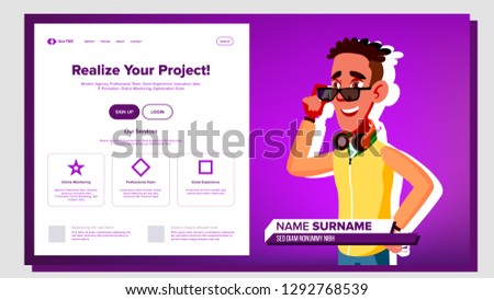 Self Presentation Vector. African American Male. Introduce Yourself Or Your Project, Business. Illus Stock photo © pikepicture