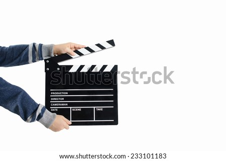 Assistant holds movie slate into the camera to start the production Stock photo © Kzenon