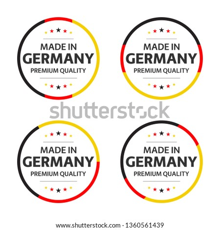 Set of four German icons, English title Made in Germany, premium quality stickers and symbols, simpl Stock photo © kurkalukas