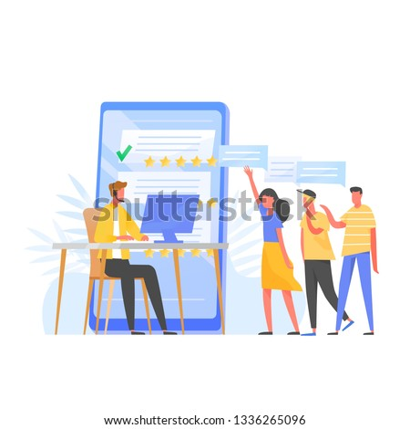 rating on customer service illustration man sitting on the floor and holding tablet in his lap web stock photo © makyzz