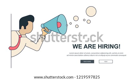 We are hiring banner. Find the right person for the job concept. Hiring and recruiting new employees Stock photo © makyzz