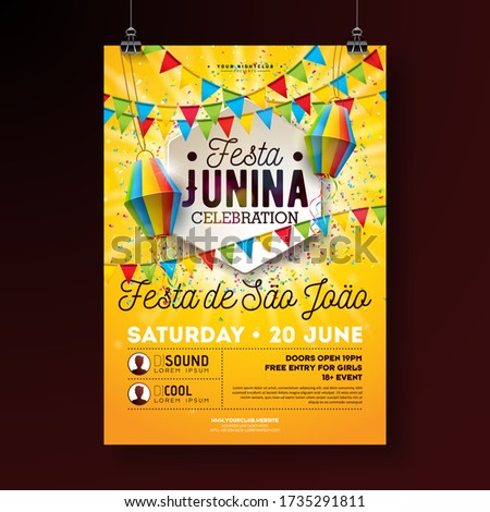 festa junina party flyer design with typography design on vintage wood board flags and paper lanter stock photo © articular