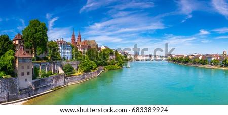 Városkép Svájc óváros kilátás város panoráma Stock fotó © Winner