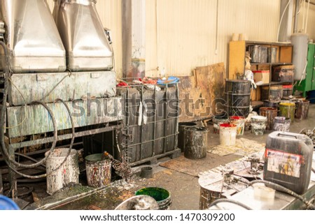 Buckets with paints for further processing of chemical or polymer products Stock photo © pressmaster