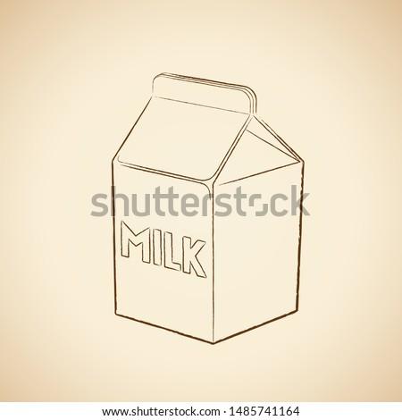 Kömür çizim süt kutu ikon bej Stok fotoğraf © cidepix