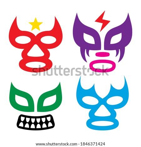 Lucha Libre faces vector design, luchador or luchadora graphics - Mexican wrestling traditinonal mal Stock photo © RedKoala