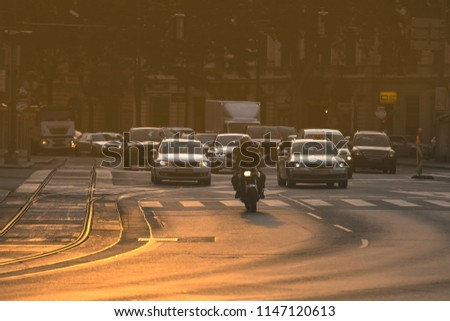 Cars going very slowly in a traffic jam during the morning rushhour Stock photo © lightpoet