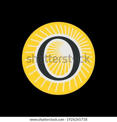 Letter O logo with rays or sunburst. template logo design. Stock Vector illustration isolated on whi Stock photo © kyryloff