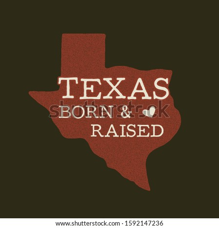 Texas state badge - Born Raised quote inside. Vintage hand drawn typography illustration. US state d Stock photo © JeksonGraphics
