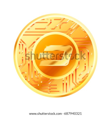 Bright golden coin with microchip pattern and Dash sign. Cryptocurrency concept on white Stock photo © evgeny89